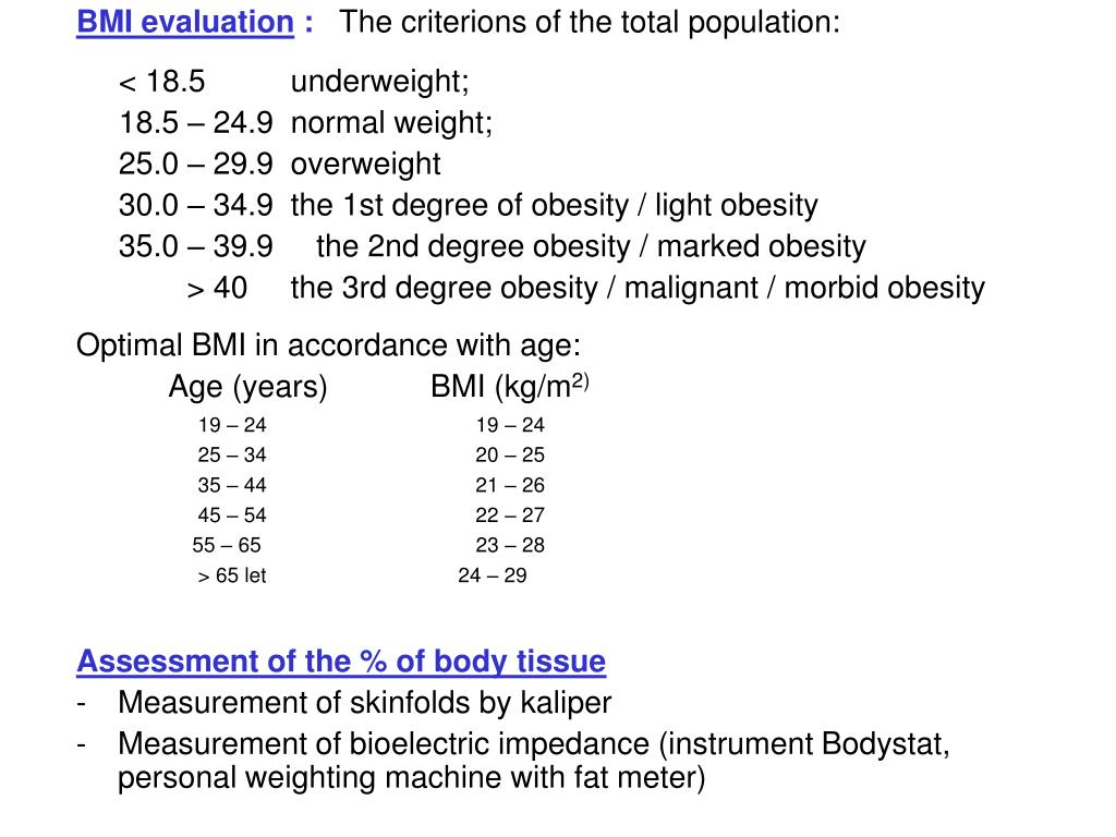BMI evaluation
