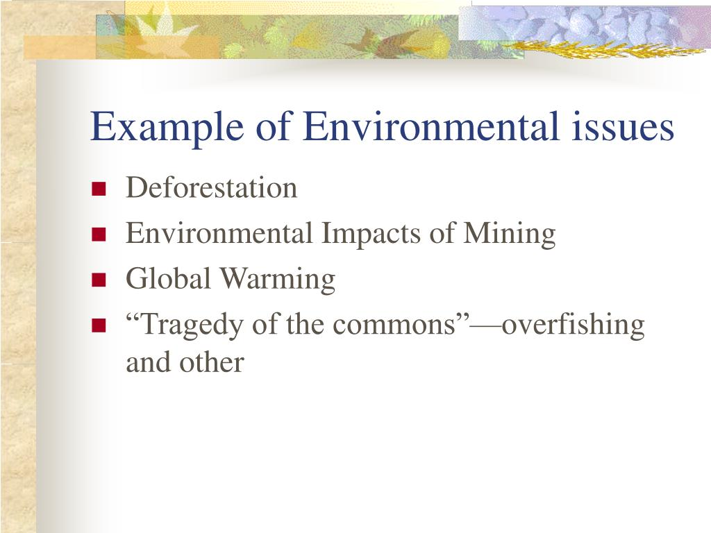 Example of Environmental issues