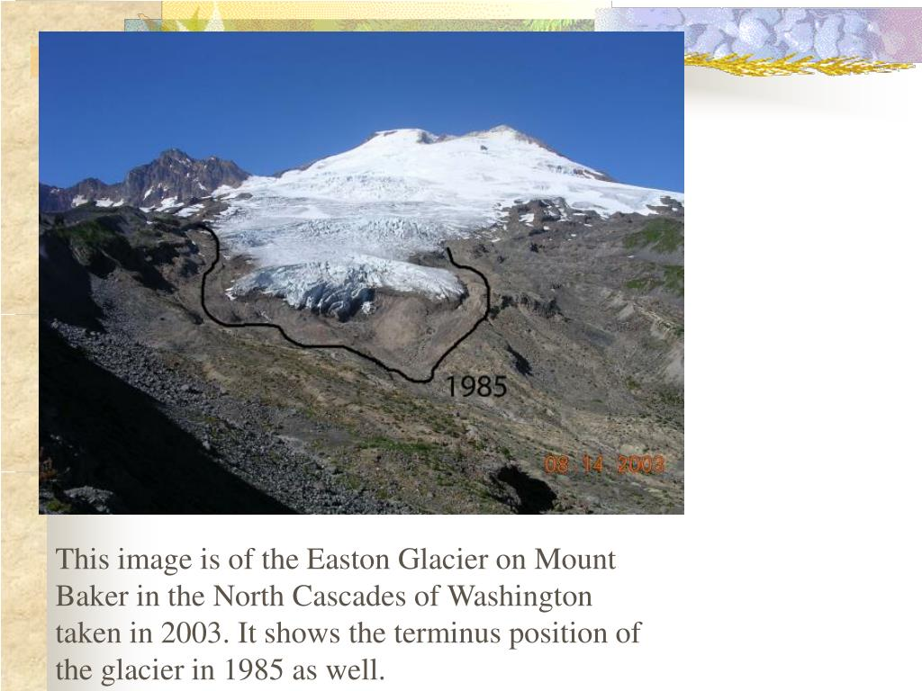 This image is of the Easton Glacier on Mount Baker in the North Cascades of Washington taken in 2003. It shows the terminus position of the glacier in 1985 as well.