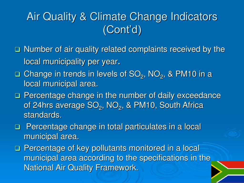 Air Quality & Climate Change Indicators (Cont'd)