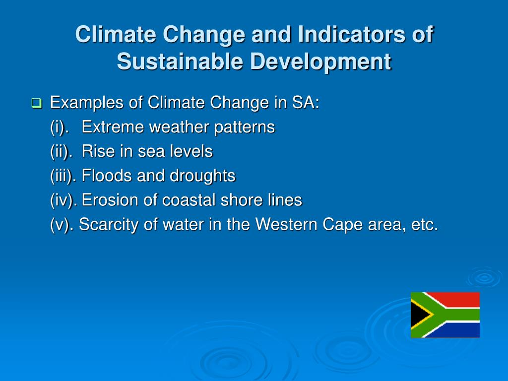 Climate Change and Indicators of Sustainable Development