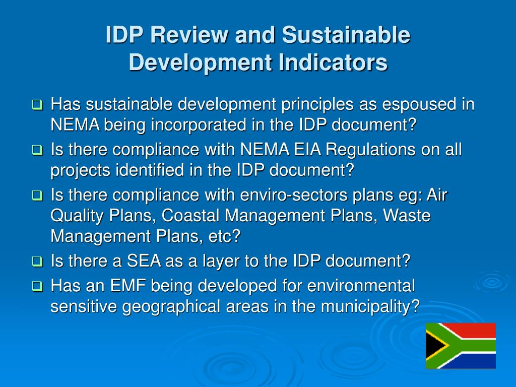 IDP Review and Sustainable Development Indicators