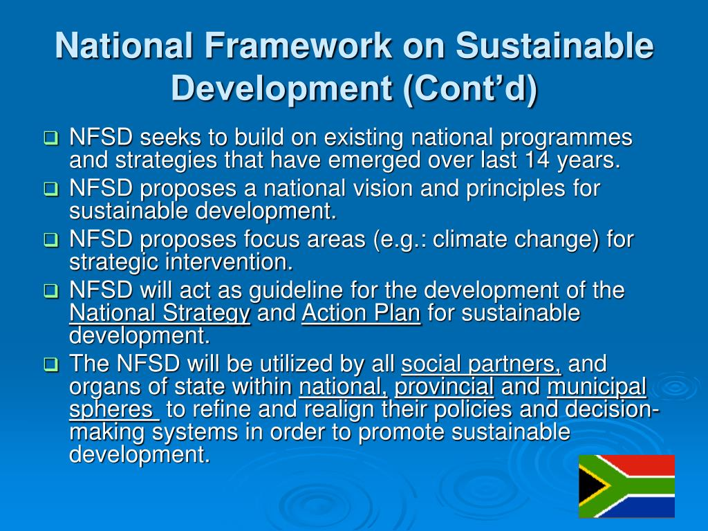 National Framework on Sustainable Development (Cont'd)