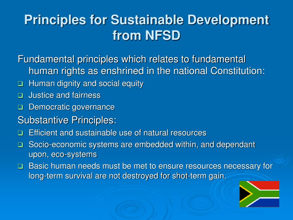 Principles for Sustainable Development from NFSD