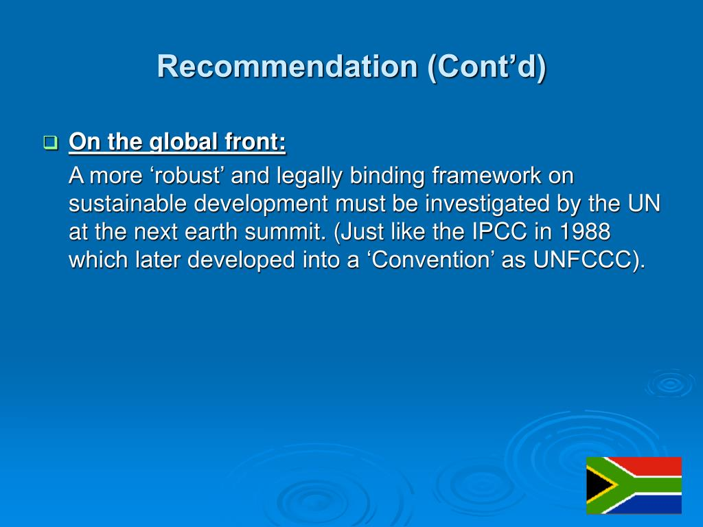 Recommendation (Cont'd)