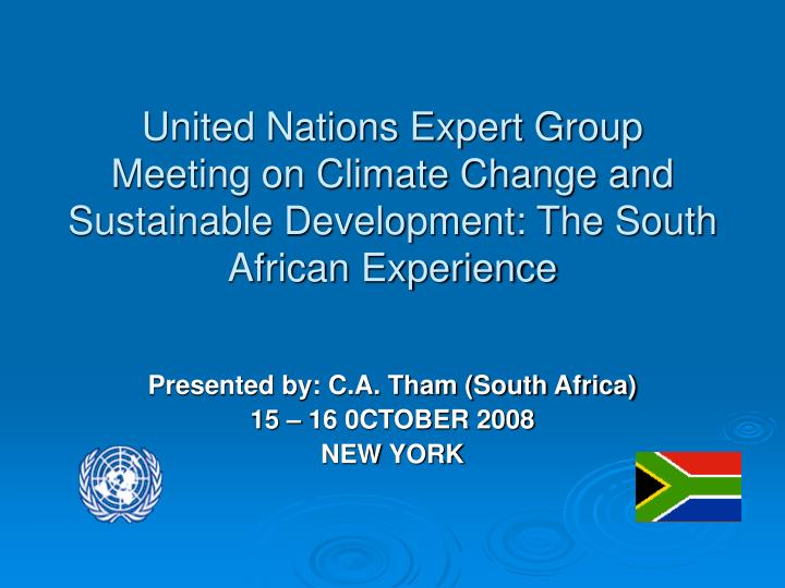 United Nations Expert Group Meeting on Climate Change and Sustainable Development: The South African...