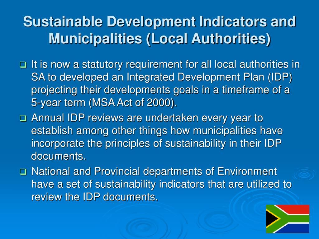 Sustainable Development Indicators and Municipalities (Local Authorities)
