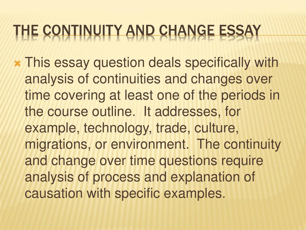mw history continuity over time essay