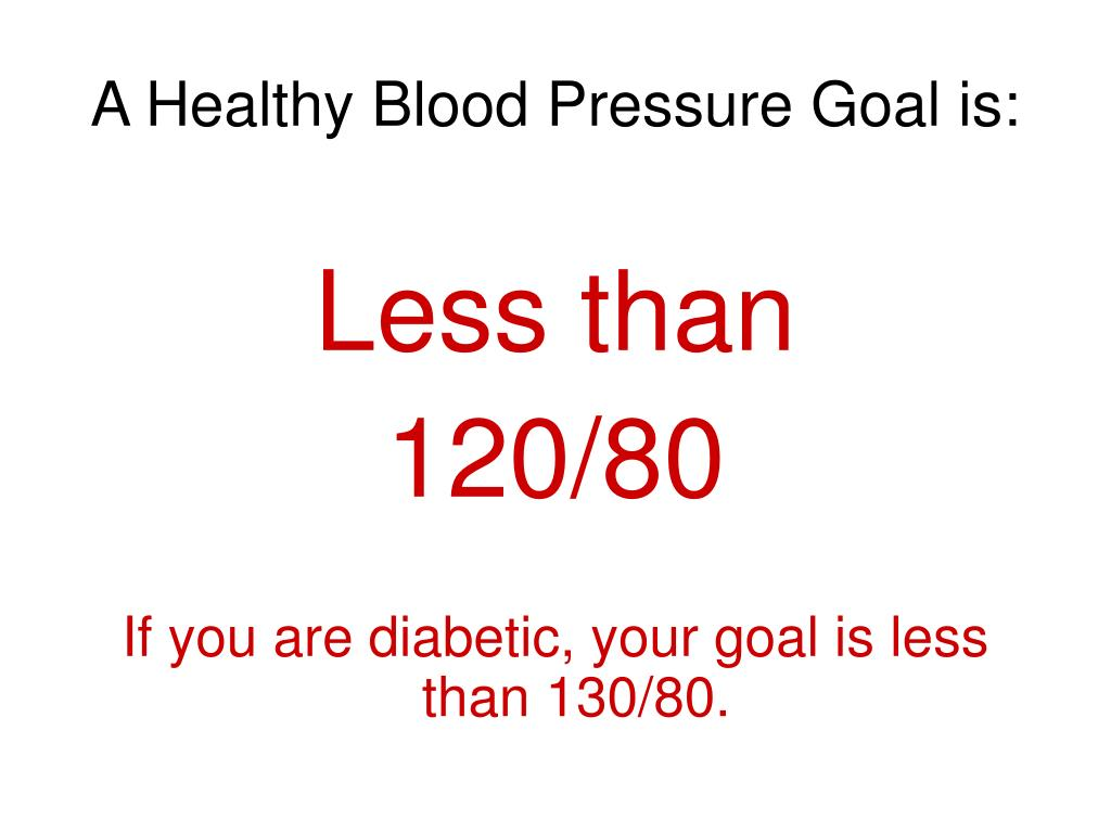 A Healthy Blood Pressure Goal is:
