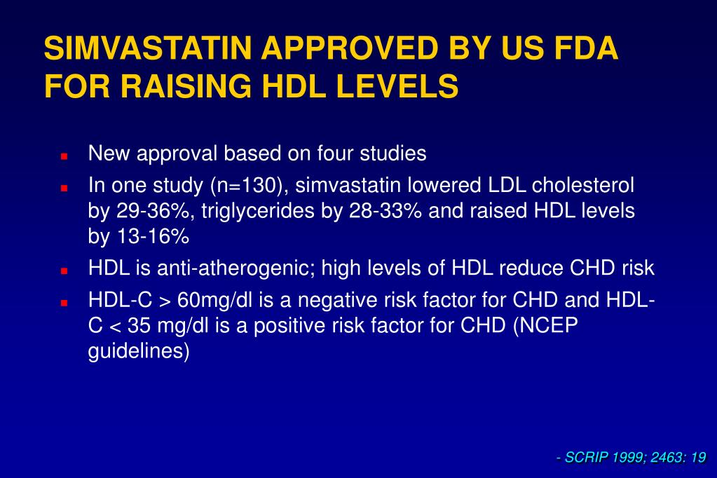 SIMVASTATIN APPROVED BY US FDA FOR RAISING HDL LEVELS