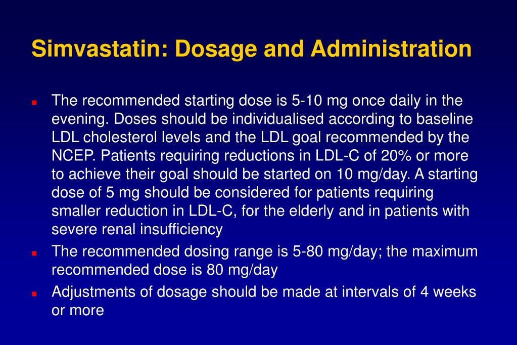 Simvastatin: Dosage and Administration