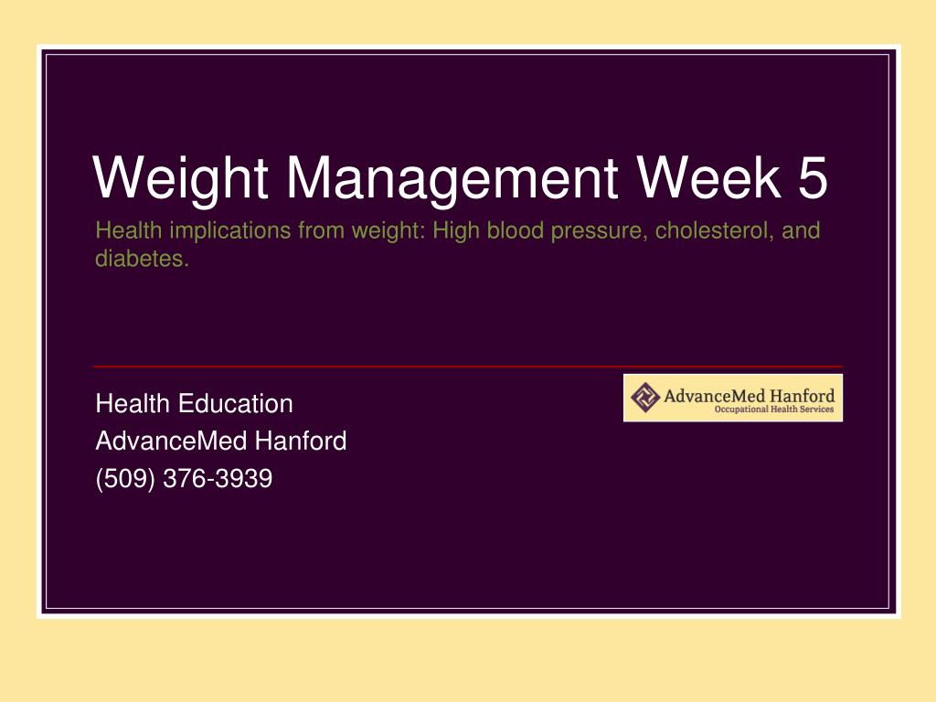 Health implications from weight: High blood pressure, cholesterol, and diabetes.
