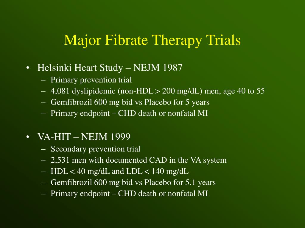 Major Fibrate Therapy Trials