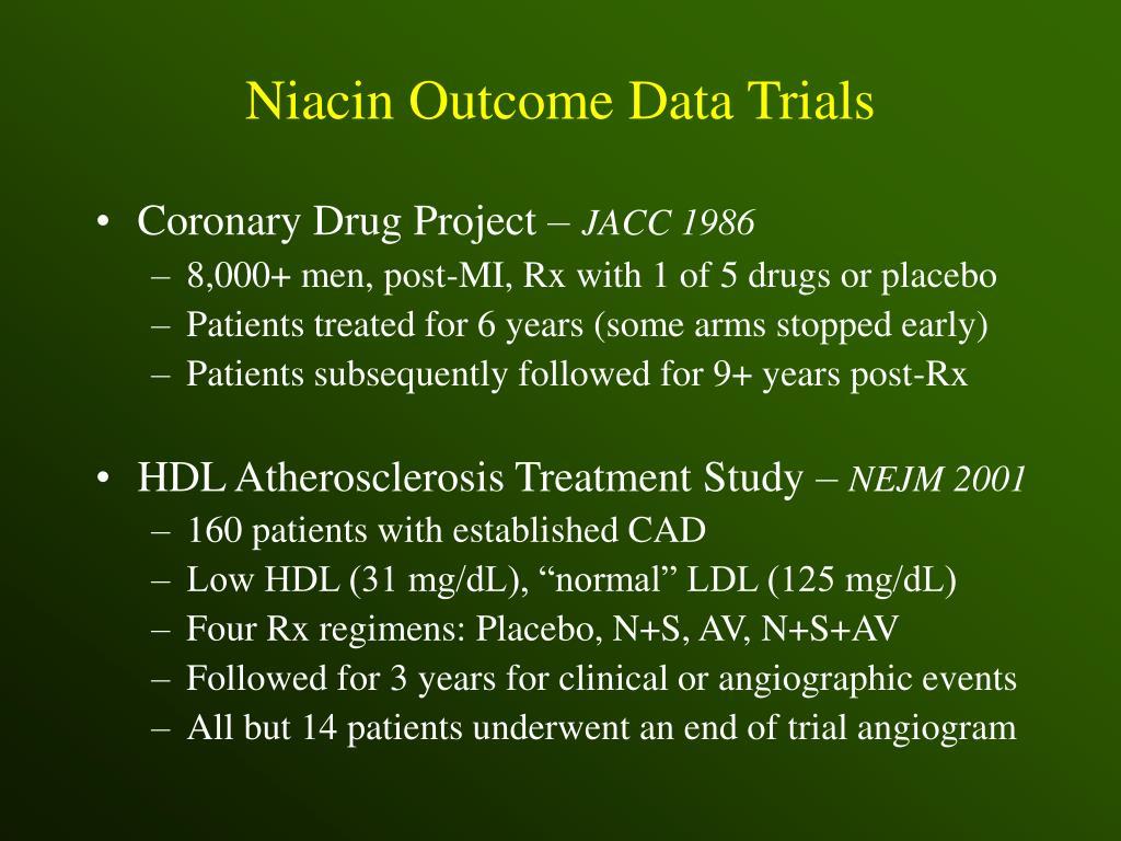 Niacin Outcome Data Trials