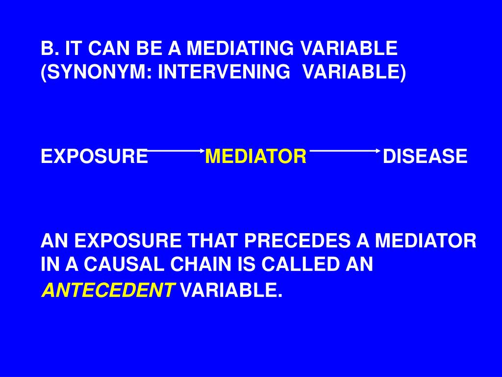 B. IT CAN BE A MEDIATING VARIABLE (SYNONYM: INTERVENING  VARIABLE)