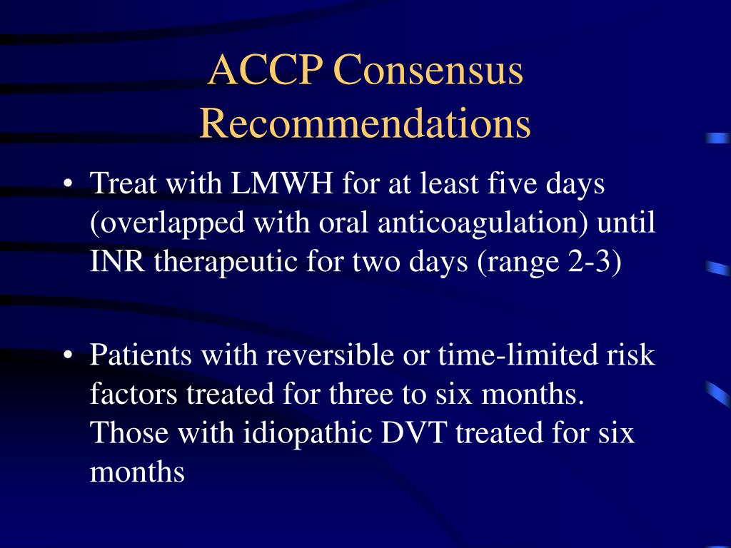 ACCP Consensus Recommendations