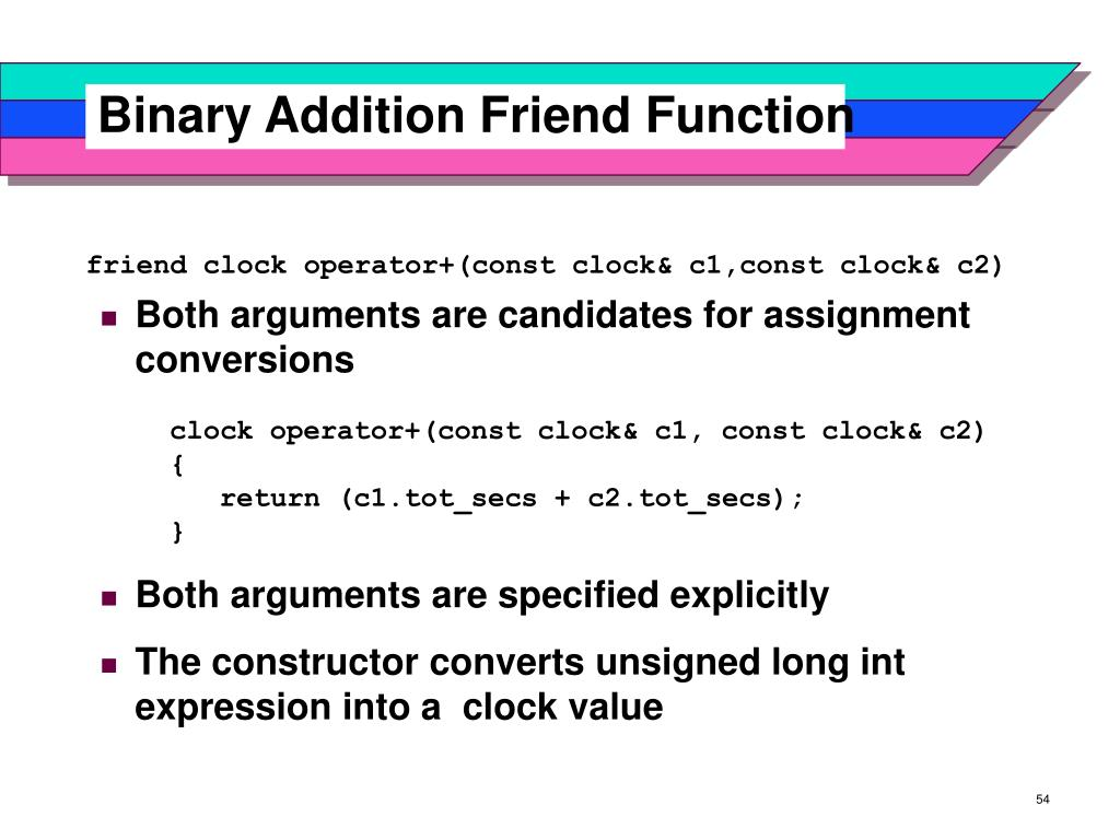 Binary Addition Friend Function