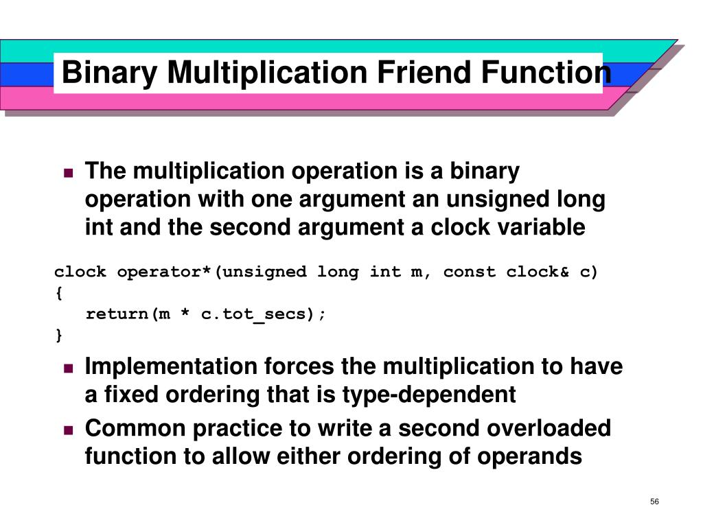 Binary Multiplication Friend Function