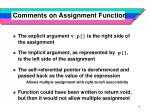comments on assignment function