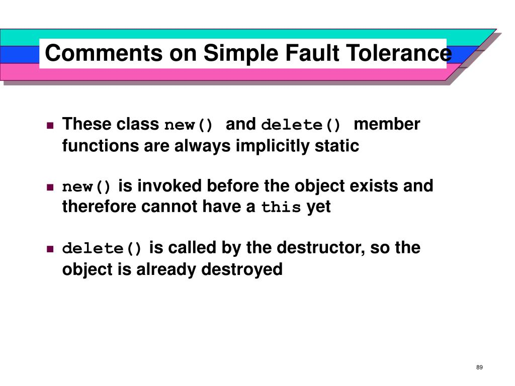 Comments on Simple Fault Tolerance
