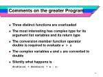 comments on the greater program