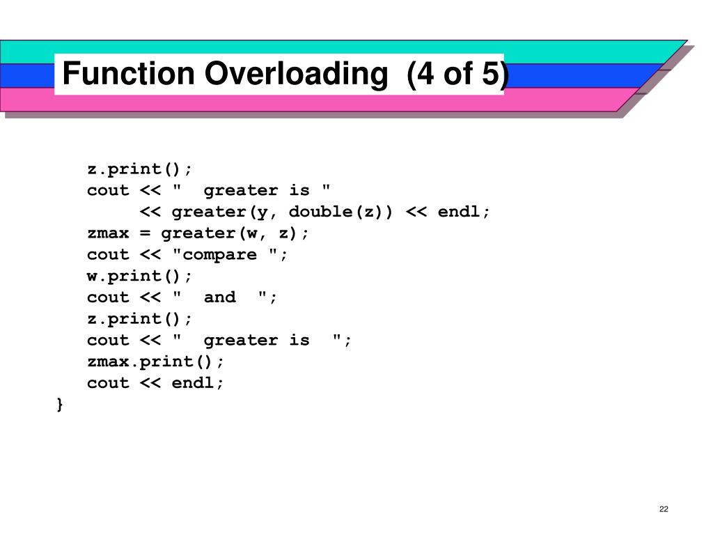 Function Overloading  (4 of 5)