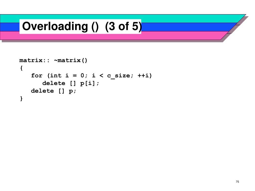 Overloading ()  (3 of 5)