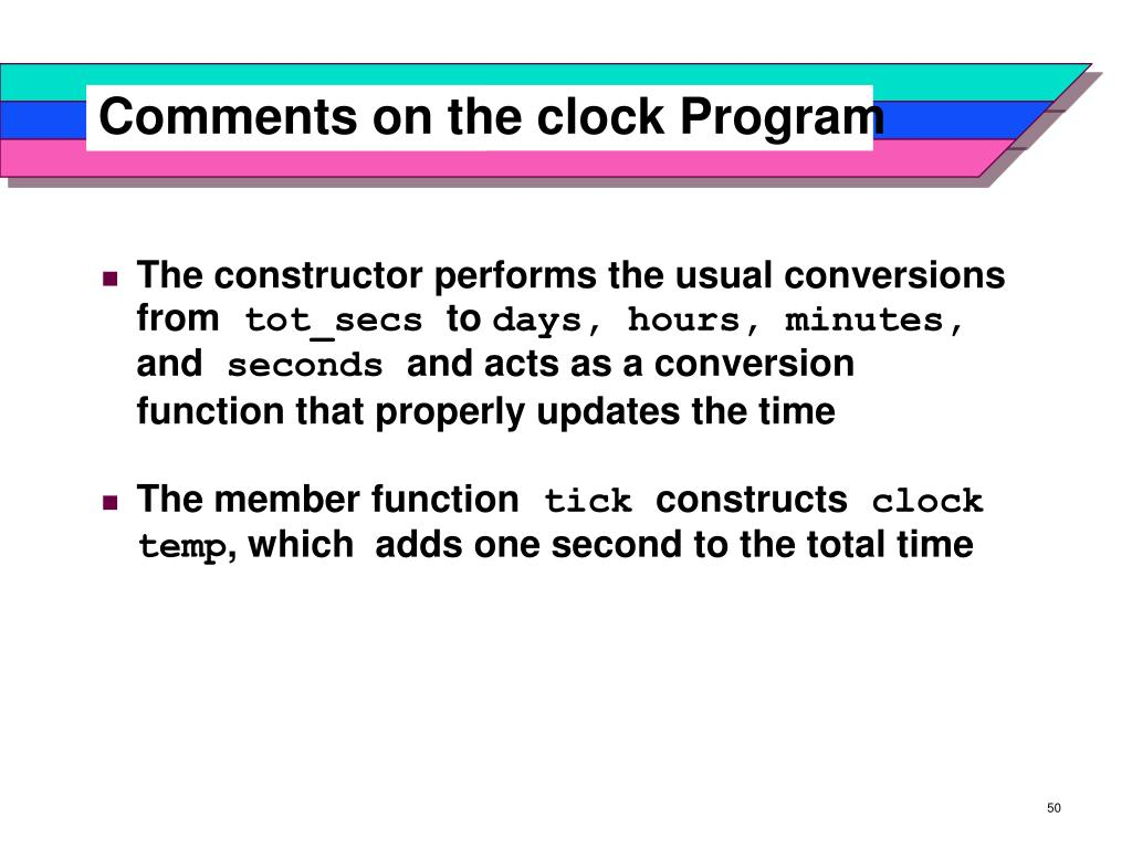 Comments on the clock Program