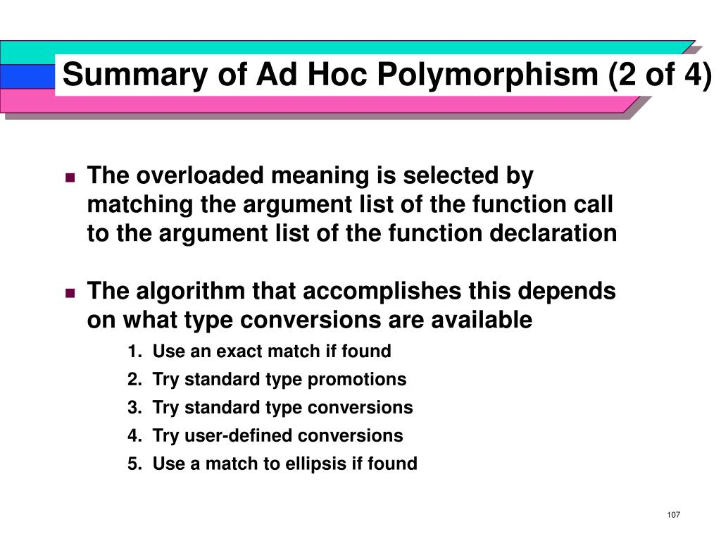 Summary of Ad Hoc Polymorphism (2 of 4)