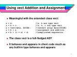 using vect addition and assignment