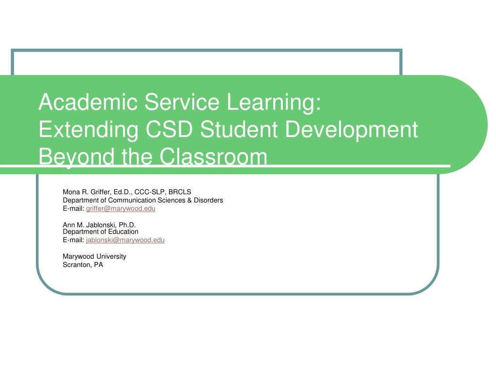 Academic Service Learning: