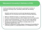 marywood university s definition of asl