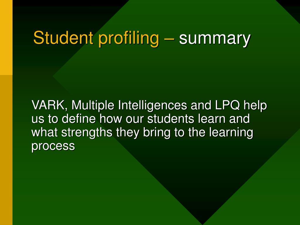Student profiling