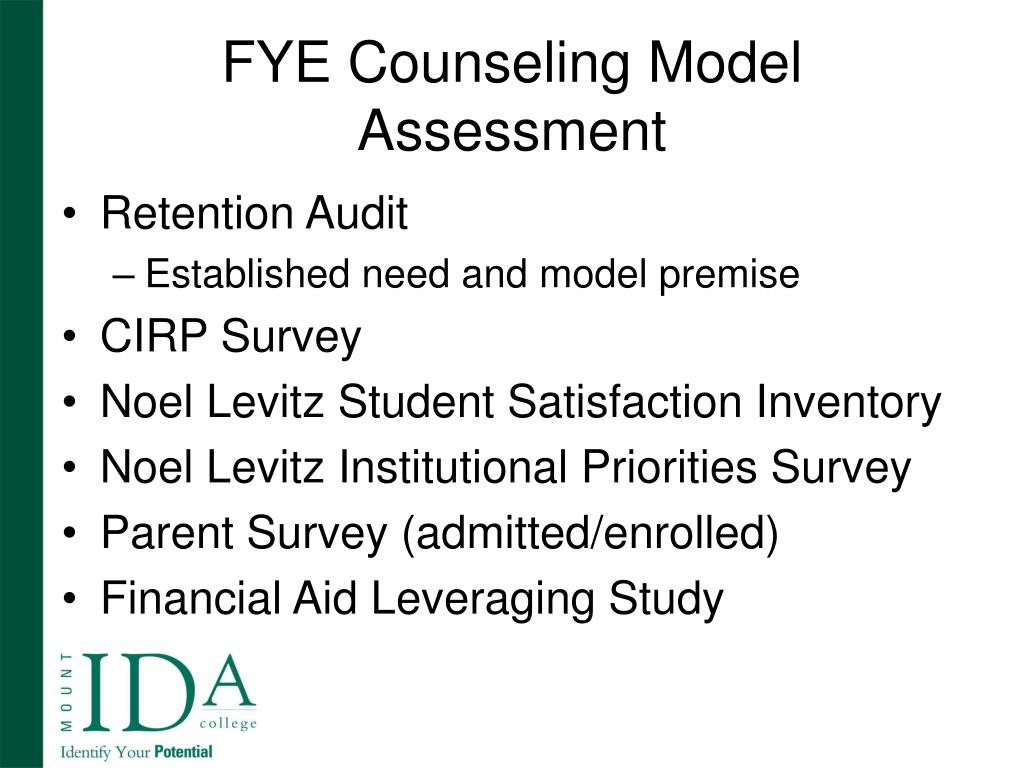 FYE Counseling Model Assessment