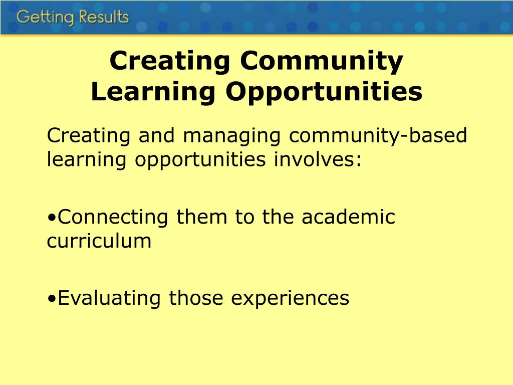 Creating Community Learning Opportunities