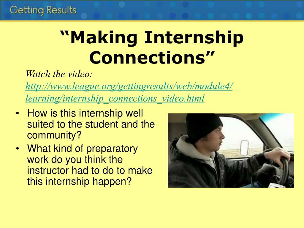 """Making Internship Connections"""