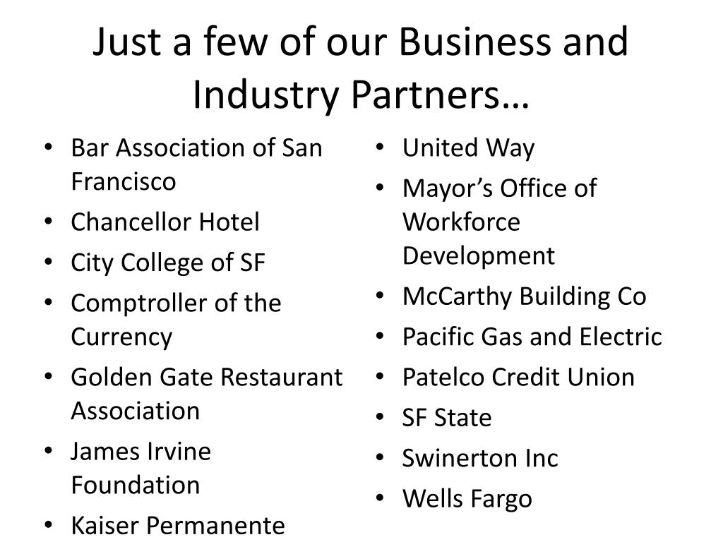 Just a few of our Business and Industry Partners…