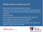 what teachers want from pl