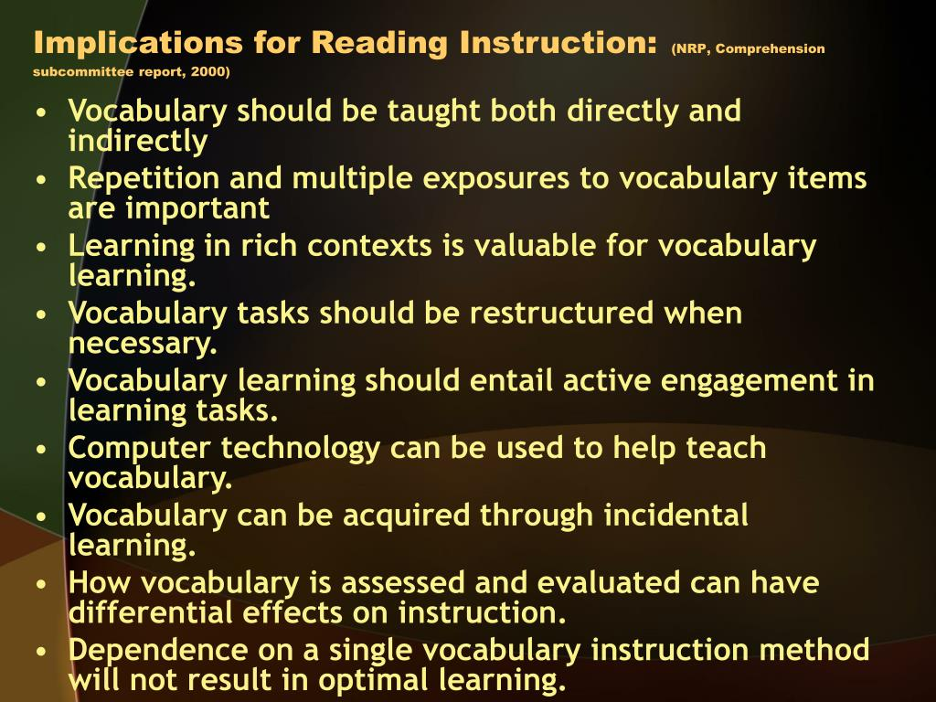 Implications for Reading Instruction:
