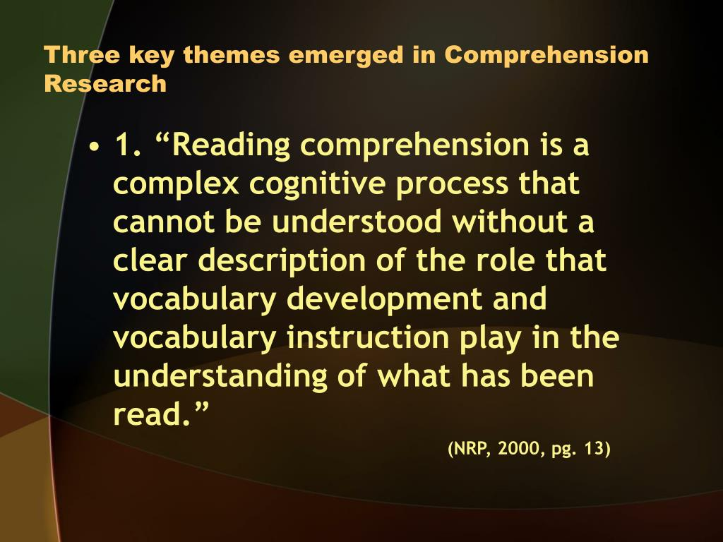 Three key themes emerged in Comprehension Research
