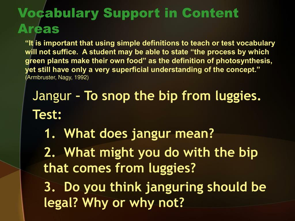 Vocabulary Support in Content Areas