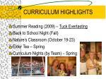 curriculum highlights