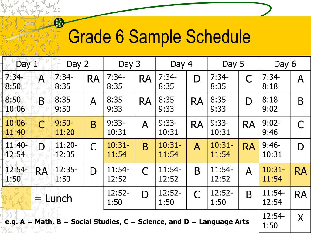 Grade 6 Sample Schedule