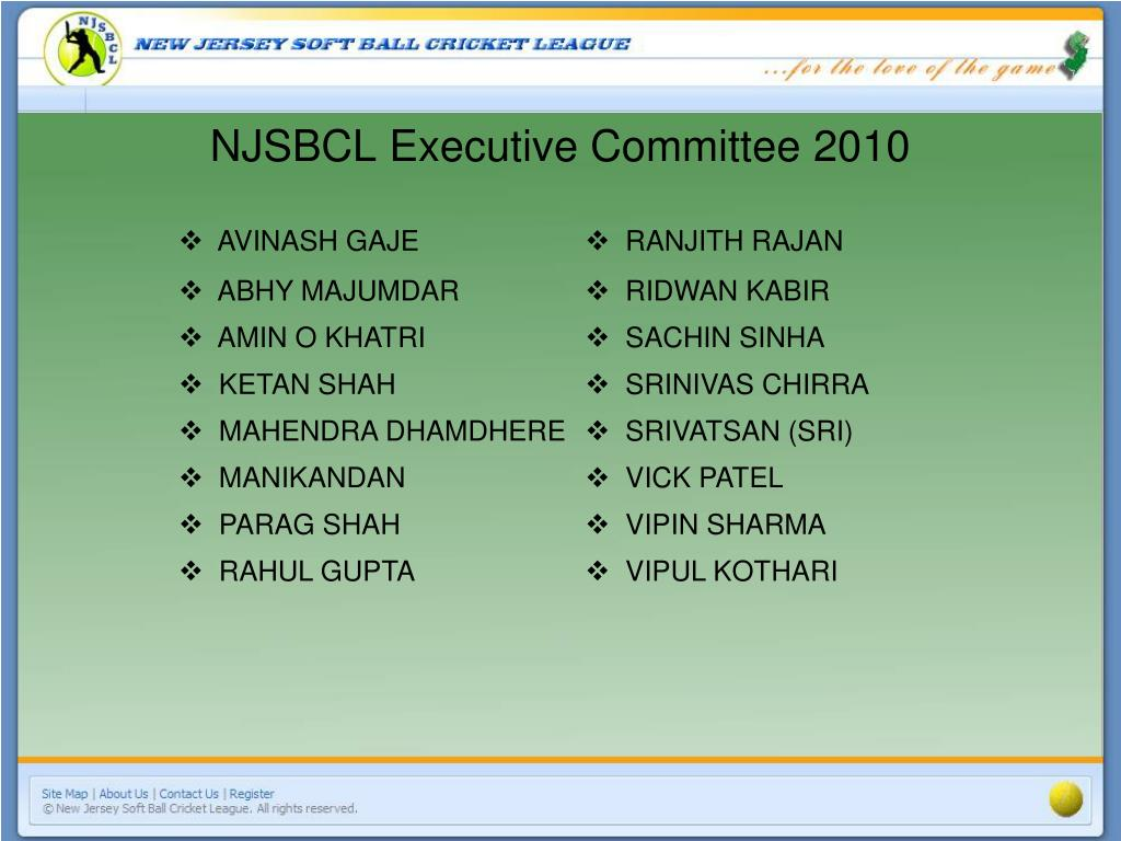 NJSBCL Executive Committee 2010