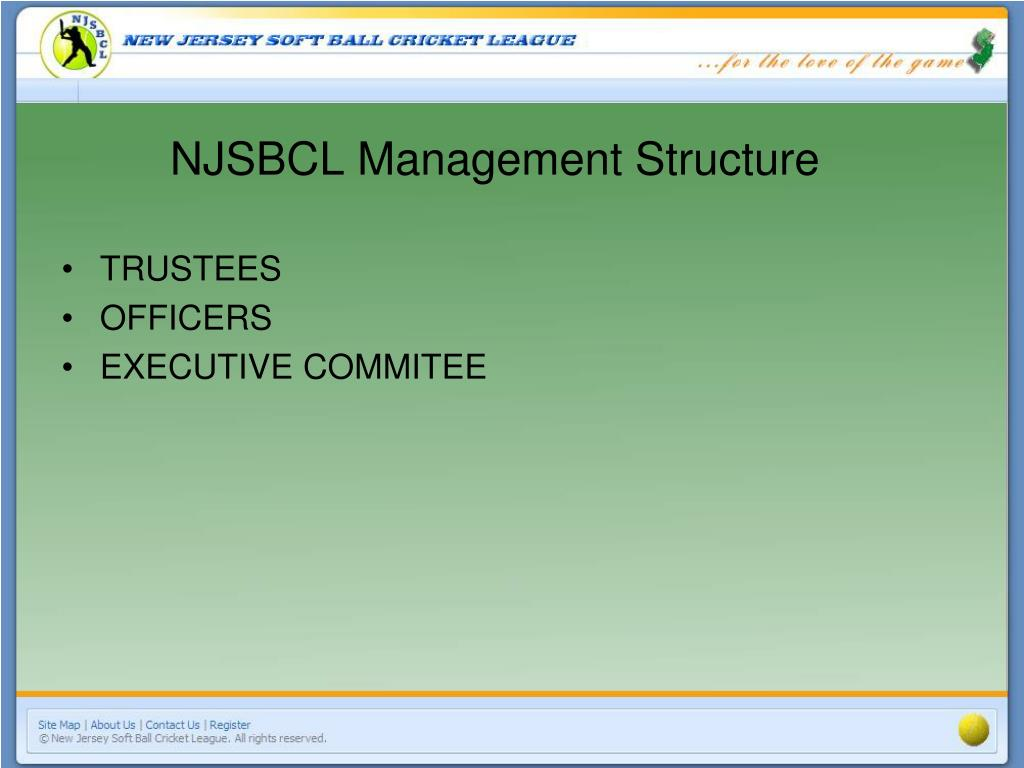 NJSBCL Management Structure