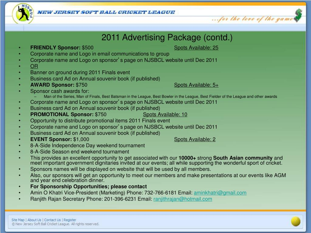 2011 Advertising Package (contd.)