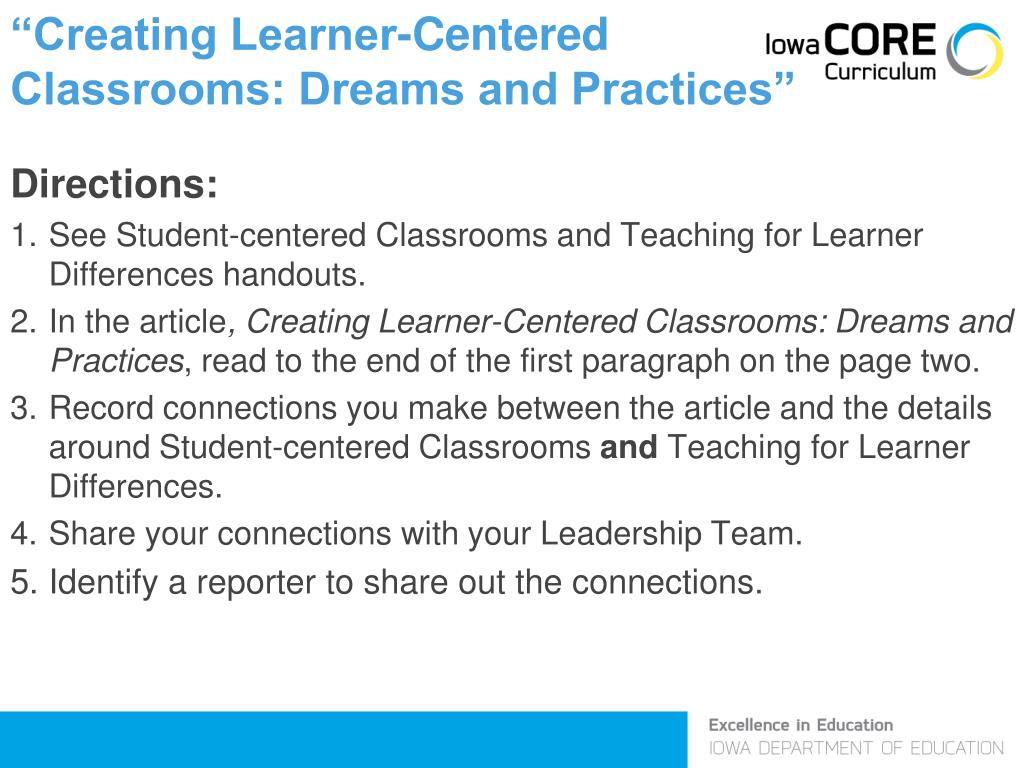"""Creating Learner-Centered"