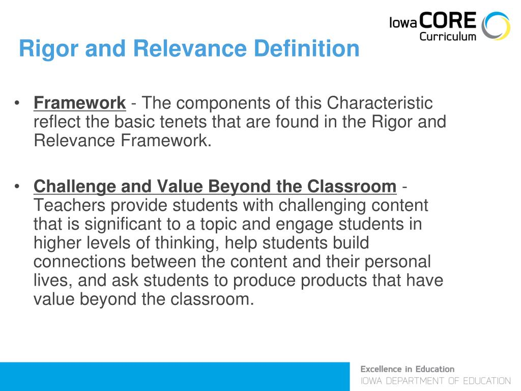 Rigor and Relevance Definition