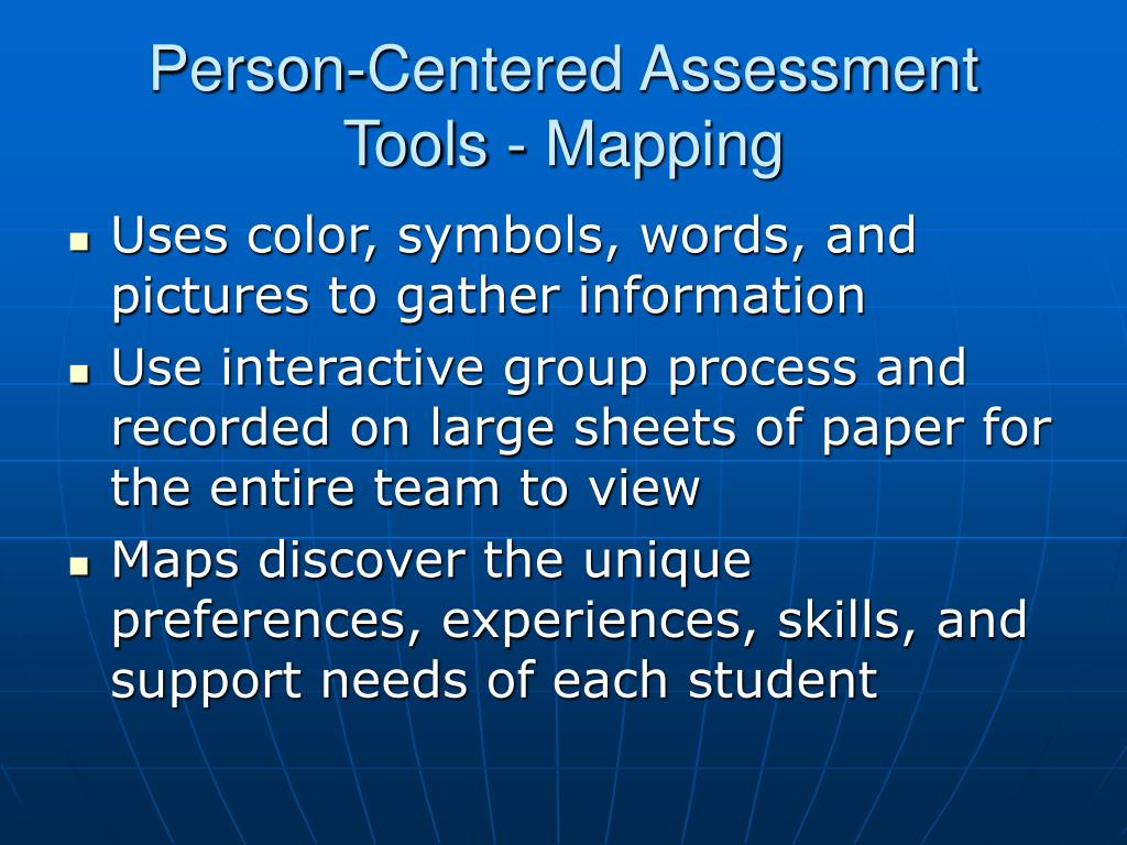 Person-Centered Assessment Tools - Mapping