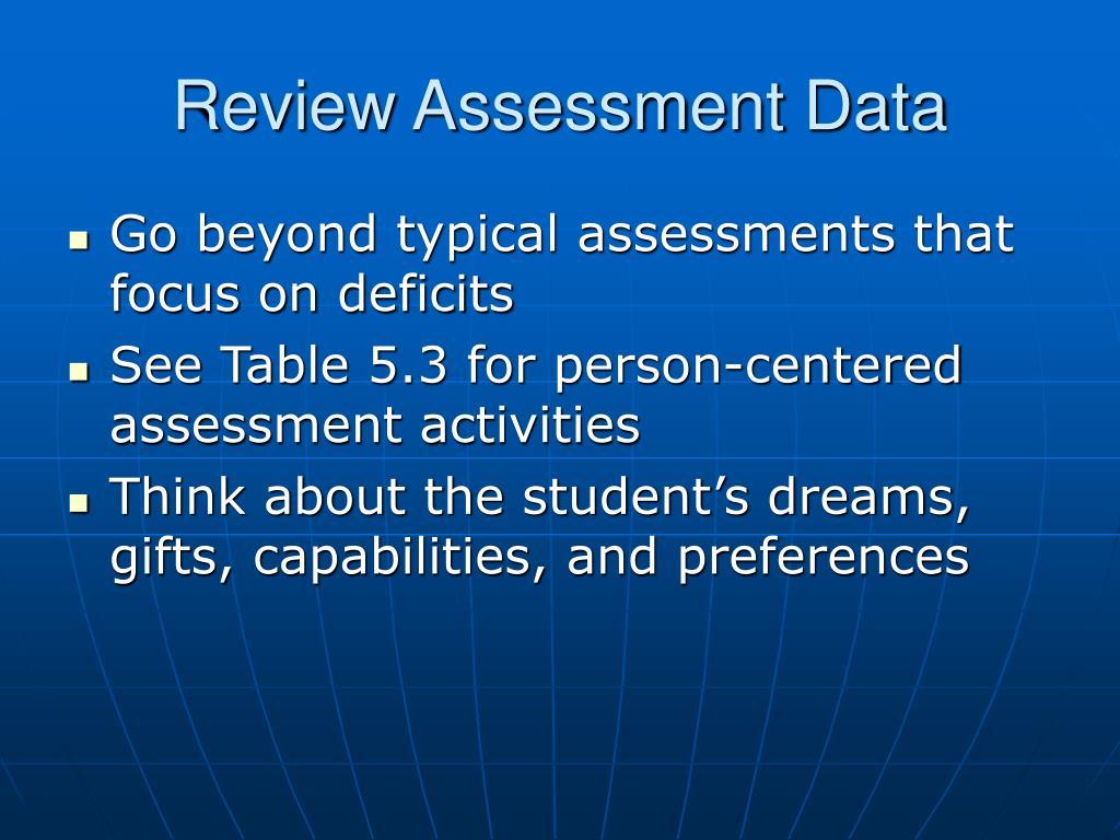 Review Assessment Data
